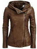 cheap Women's Leather Jackets-Women's Basic Leather Jacket-Solid Colored