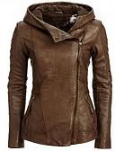 baratos Chapéus de Moda-Mulheres Jaquetas de Couro Básico-Sólido
