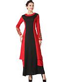 baratos Camisolas e Pijamas Femininos-Mulheres Abaya Vestido Sólido Retalhos Longo