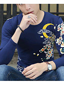 cheap Men's Hoodies & Sweatshirts-Men's Street chic Cotton T-shirt - Solid Colored Round Neck / Long Sleeve