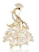 cheap Women's Coats & Trench Coats-Women's Crystal Brooches - Crystal Animal, Peacock Classic, Fashion Brooch Gold For Daily / Formal