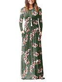 זול שמלות נשים-גיזרה גבוהה מקסי דפוס, פרחוני / וינטאג' - שמלה נדן / טישרט בוהו חגים / ליציאה בגדי ריקוד נשים / אביב / סתיו / משוחרר