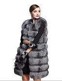 cheap Women's Fur Coats-Women's Faux Fur Coat - Solid Colored V Neck