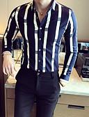 cheap Men's Shirts-Men's Going out Cotton Slim Shirt - Striped Print White L / Long Sleeve / Fall