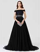 cheap Evening Dresses-A-Line / Princess Off Shoulder Sweep / Brush Train Tulle Cocktail Party / Formal Evening Dress with Beading by TS Couture®