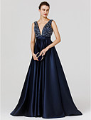 cheap Evening Dresses-A-Line Plunging Neck Sweep / Brush Train Satin See Through Formal Evening Dress with Beading by TS Couture®