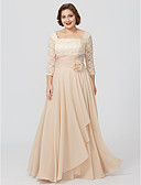 cheap Mother of the Bride Dresses-Sheath / Column Square Neck Floor Length Chiffon Metallic Lace Mother of the Bride Dress with Sash / Ribbon Flower by LAN TING BRIDE®