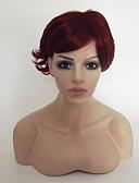 tanie Skóra-Peruki syntetyczne Kędzierzawy Fryzura asymetryczna / Z grzywką Włosy syntetyczne Naturalna linia włosów Czerwony Peruka Damskie Krótki Bez czepka
