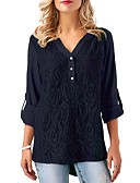baratos Blusas Femininas-Mulheres Blusa Sólido Decote V / Rendas