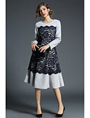 baratos Vestidos Femininos-Mulheres Para Noite Reto / Bainha Vestido - Renda, Estampa Colorida Médio