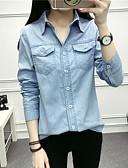 preiswerte Bluse-Damen Solide Baumwolle Hemd, Hemdkragen