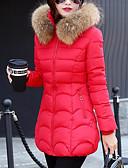 olcso Női hosszú kabátok és parkák-Női Alkalmi Pehely - Nyomtatott, Egyszínű Csíkos