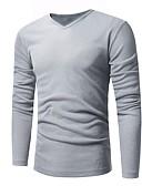 tanie Męskie swetry i swetry rozpinane-Męskie Praca W serek Długie Sweter rozpinany Solidne kolory Długi rękaw