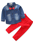 cheap Women's Sweaters-Boys' Party Daily Formal Clothing Set, Cotton Polyester Spring Fall All Seasons Long Sleeves Dresswear Bow Red