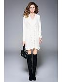 preiswerte Damen Kleider-Damen Ausgehen Strickware Kleid Hohl Übers Knie U-Ausschnitt