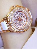 Недорогие Кварцевые часы-Жен. Наручные часы Diamond Watch золотые часы Японский Кварцевый Нержавеющая сталь Керамика Белый / Серебристый металл / Золотистый 30 m Повседневные часы Аналоговый Дамы Кулоны -