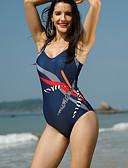 رخيصةأون ملابس السباحة والبيكيني 2017 للنساء-XXXL 4XL 5XL طباعة مخطط, ملابس السباحة قعطة واحدة أزرق نسائي