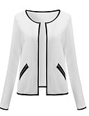 cheap Women's Coats & Trench Coats-Women's Holiday / Casual / Daily Street chic Spring / Fall Short Jacket, Solid Colored Stand Long Sleeve Polyester White / Black / Gray L / XL / XXL