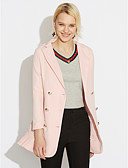 cheap Women's Leather & Faux Leather Jackets-Women's Work Spring / Fall Plus Size Regular Blazer, Solid Colored V Neck Long Sleeve Polyester Pleated Black / Pink XL / XXL / XXXL