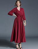 זול סוודרים לנשים-צווארון V מקסי אחיד - שמלה משוחרר ליציאה בגדי ריקוד נשים