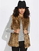 billige Damefrakker og trenchcoats-Dame Ensfarvet I-byen-tøj Vest Imiteret pels