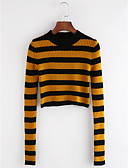 cheap Women's Sweaters-Women's Long Sleeves Pullover - Striped Crew Neck