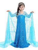 baratos Vestidos para Daminhas de Honra-Princesa Conto de Fadas Elsa Vestidos Crianças Vestidos Natal Baile de Máscaras Festival / Celebração Trajes da Noite das Bruxas Roupa Azul Lantejoula Adorável