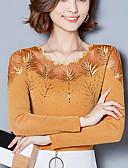 baratos Camisas Femininas-Mulheres Tamanhos Grandes Blusa Moda de Rua Renda, Sólido