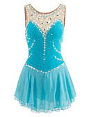 cheap Ice Skating Dresses , Pants & Jackets-Figure Skating Dress Women's / Girls' Ice Skating Dress LightBlue Spandex Competition Skating Wear Handmade Jeweled / Rhinestone Sleeveless Ice Skating / Figure Skating