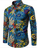 cheap Men's Shirts-Men's Boho Linen Slim Shirt - Floral / Long Sleeve / Plus Size