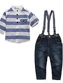 tanie Zestawy ubrań dla chłopców-Brzdąc Dla chłopców Na co dzień / Moda miejska Sport Prążki Długi rękaw Bawełna Komplet odzieży