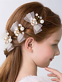 Χαμηλού Κόστους Κορδέλες για πάρτι-Κρύσταλλο / Απομίμηση Μαργαριταριού Λουλούδια / Πιαστρακι ΜΑΛΛΙΩΝ / Νύχια για τα μαλλιά με Φιόγκος / Στυλ Διασκοπρισμένου Μοτίβου Χαντρών 3 Γάμου / Πάρτι / Βράδυ Headpiece