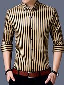 זול בגדי ים לגברים-פסים רזה יום יומי / סגנון סיני כותנה, חולצה - בגדי ריקוד גברים / שרוול ארוך
