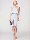 baratos Vestidos de Coquetel-Tubinho Assimétrico Curto / Mini Cetim Coquetel Vestido com Laço(s) / Pregas de TS Couture®