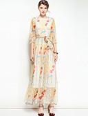 baratos Vestidos Femininos-Mulheres Vintage / Boho balanço Vestido Floral Médio