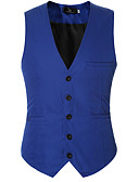 hesapli Erkek Blazerları ve Takım Elbiseleri-Erkek Günlük Bahar / Sonbahar Normal Vesta, Solid V Yaka Kolsuz Polyester Açık Mavi / Ordu Yeşili / Navy Mavi XXXXL / XXXXXL / XXXXXXL / İş Dünyası Resmi / İnce