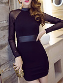 cheap Women's Dresses-Women's Going out Street chic Bodycon Dress - Solid Colored Mesh Turtleneck Cotton Black M L XL / Skinny