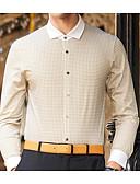 abordables Camisetas y Tops de Hombre-Hombre Activo Algodón Camisa Houndstooth / Manga Larga