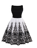 preiswerte Damen Kleider-Damen Ausgehen Aktiv Baumwolle Hülle Spitze Kleid Solide Patchwork Knielang Schwarz & Weiß
