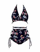 tanie Bikini i odzież kąpielowa 2017-Damskie Boho Halter Czarny Rumiany róż Bikini Stroje kąpielowe - Kwiaty Nadruk M L XL