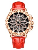 cheap Quartz Watches-Women's Wrist Watch Japanese Quartz 50 m Water Resistant / Water Proof Chronograph Hollow Engraving Genuine Leather Band Analog Flower Fashion Elegant Black / White / Red - Gray Red Pink Two Years