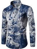 זול חולצות לגברים-פרחוני צווארון עומד(סיני) רזה פעיל סגנון סיני מועדונים פשתן, חולצה - בגדי ריקוד גברים