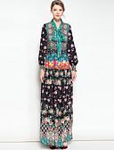 זול חצאיות לנשים-צווארון חולצה מקסי פרחוני - שמלה סווינג בוהו בגדי ריקוד נשים