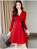 cheap Women's Dresses-Women's Sheath Dress - Solid Colored Red Shirt Collar