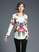 baratos Tops Femininos-Mulheres Camisa Social - Para Noite Floral / Geométrica Colarinho de Camisa