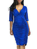 cheap Women's Dresses-Women's Going out Sheath Dress - Solid Colored V Neck