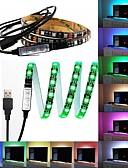 cheap Sport Watches-ZDM Waterproof 1m RGB Strip Lights 60 LEDs 5050 SMD 1M LED Strip Light / 17-Key Remote Controller RGB TV Background Light IP65