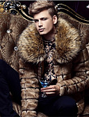 cheap Men's Blazers & Suits-Men's Vintage Faux Fur Fur Coat - Solid Colored Shirt Collar / Long Sleeve
