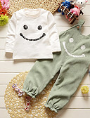 tanie Zestawy ubrań dla dziewczynek-Brzdąc Dla dziewczynek Prosty / Moda miejska Prążki Długi rękaw Regularny Bawełna Komplet odzieży Zielony 100 / Śłodkie