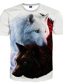 cheap Men's Tees & Tank Tops-Men's Club Basic Slim T-shirt - Animal Wolf, Print Round Neck White XXXL / Short Sleeve / Summer